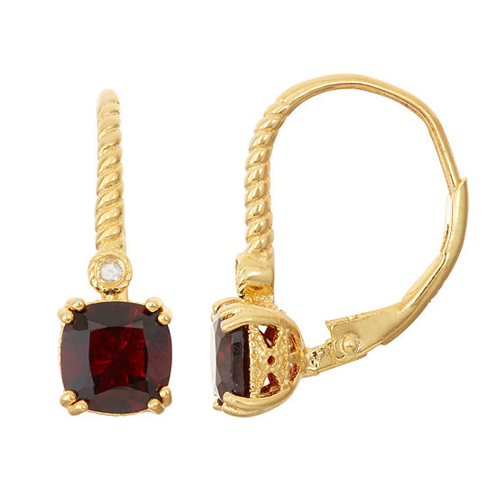 Genuine Garnet 14K Gold Over Silver Diamond Accent Leverback Earrings