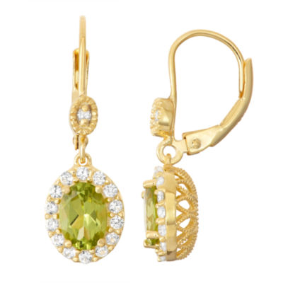 Genuine Peridot & Lab-Created White Sapphire Diamond Accent 14K Gold Over Silver Leverback Earrings