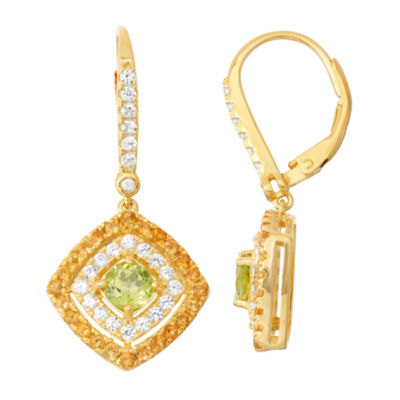 Genuine Peridot & Citrine 14K Gold Over Silver Diamond Accent Leverback Earrings