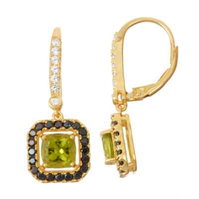 Genuine Peridot & Black Spinel 14K Gold Over Silver Diamond Accent Leverback Earrings