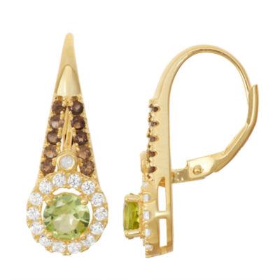Genuine Peridot & Smoky Quartz Diamond Accent 14K Gold Over Silver Leverback Earrings