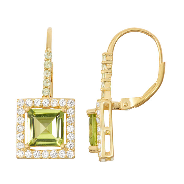 Genuine Peridot 14K Gold Over Silver Leverback Earrings