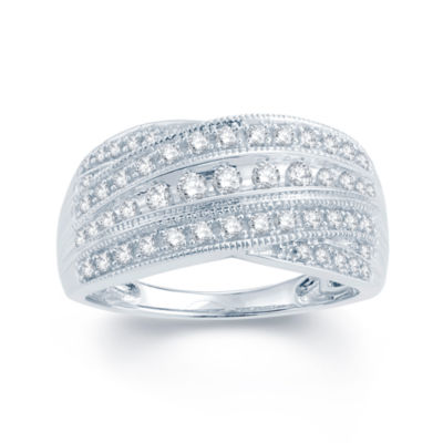 1/2 CT. T.W. Diamond 10K White Gold Wedding Band