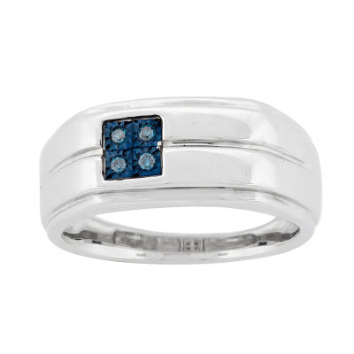 Mens Color-Enhanced Blue Diamond Accent Sterling Silver Ring