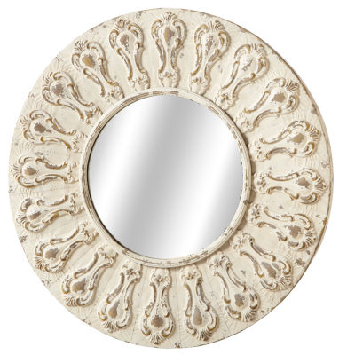 Distressed Ivory Round Ornate Wall Mirror