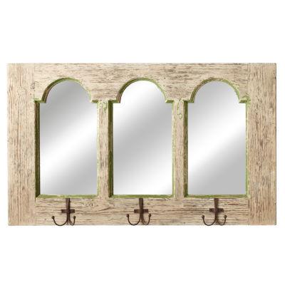 Distressed White Green Arch Mirror