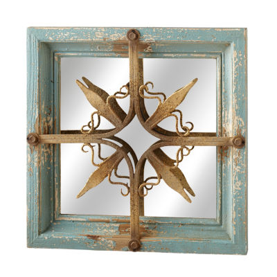 Distressed Blue Gold Star Wall Mirror