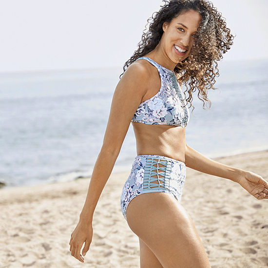 Ambrielle Floral High Neck Swimsuit Top Or Swimsuit Bottom
