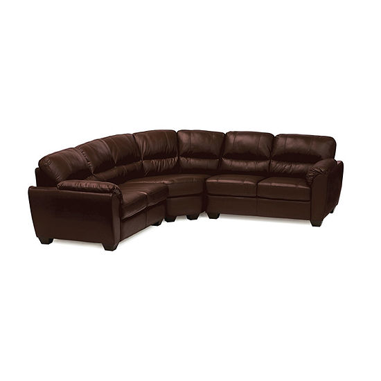 Leather Possibilities Pad Arm 3-Pc Loveseat Sectional with Corner Curve