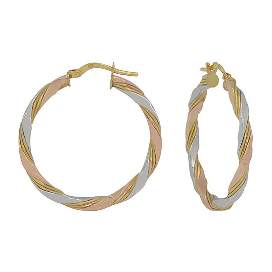 Made in Italy 14K Tri-Color Gold 30mm Hoop Earrings