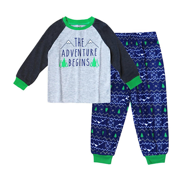 Holiday #FAMJAMS Green and Navy Explore Family 2 Piece Pajama Set -Boy's Toddler