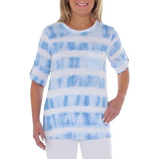 Cathy Daniels Gauze Womens Scoop Neck 3 4 Sleeve T Shirt