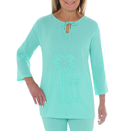 Cathy Daniels Gauze Womens Split Crew Neck 3/4 Sleeve Embroidered Blouse
