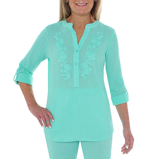 Cathy Daniels Gauze Womens Y Neck 3/4 Sleeve Embroidered Blouse