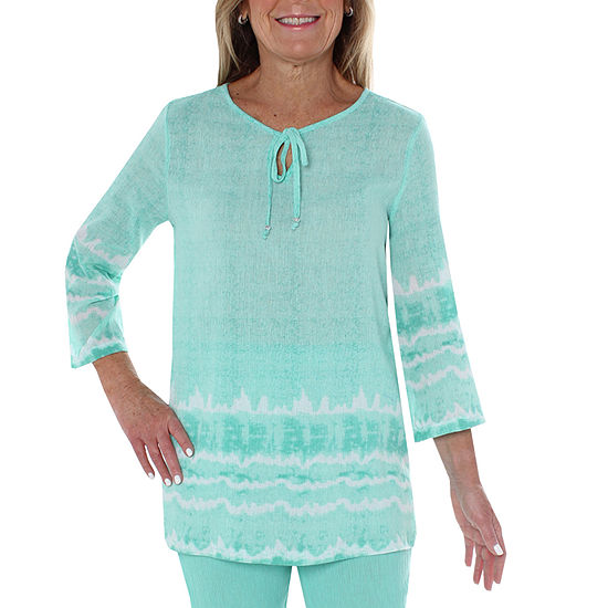 Cathy Daniels Gauze Womens Keyhole Neck 3/4 Sleeve Embroidered Blouse