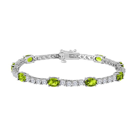 Genuine Green Peridot Pure Silver Over Brass 7.5 Inch Tennis Bracelet