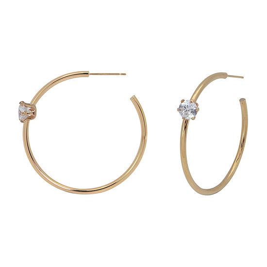 Lab Created White Cubic Zirconia 14K Gold 45mm Hoop Earrings