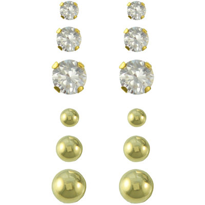 14K Gold & Cubic Zirconia Ball 6-pr. Earring Set