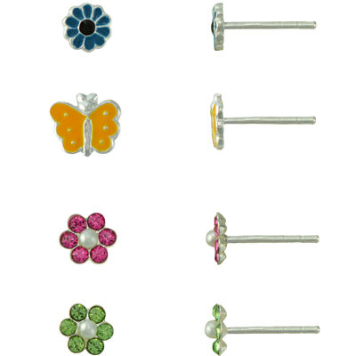 Girls Sterling Silver 4-pr. Enamel Earring Set