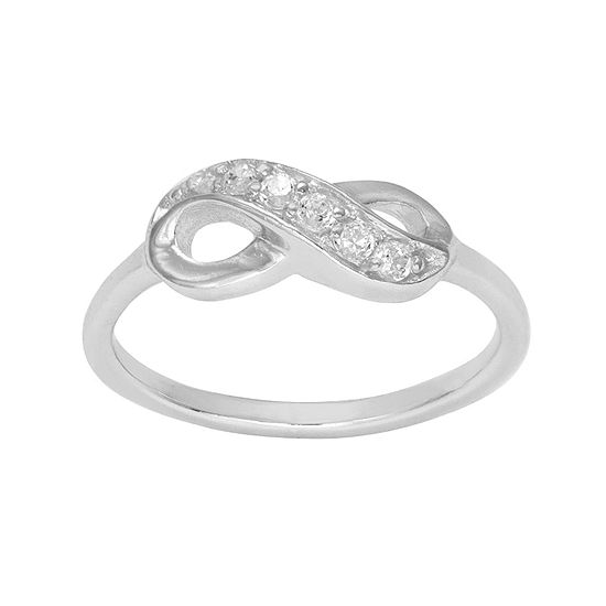 Itsy Bitsy Sterling Silver Crystal Infinity Ring