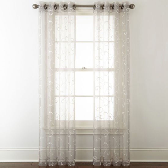 JCPenney Home Plaza Embroidery Grommet-Top Sheer Curtain Panel