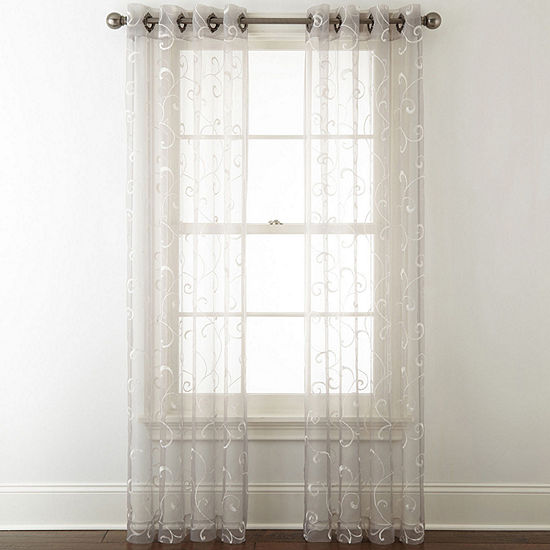 Embroidery Grommet Top Sheer Curtain