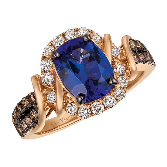 Le Vian Grand Sample Sale™ Ring featuring Blueberry Tanzanite®, Vanilla Diamonds®, & Chocolate Diamonds® set in 14K Strawberry Gold®
