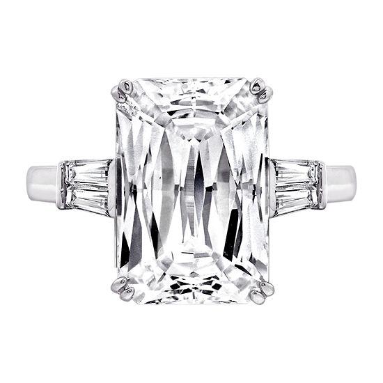 Diamonart Womens White Cubic Zirconia Sterling Silver Rectangular Engagement Ring