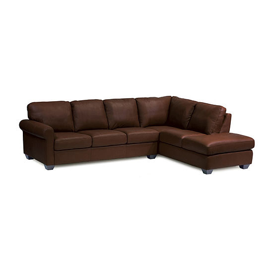 Leather Possibilities Roll Arm 2-Pc Left Arm Sofa Sectional with Corner Chaise