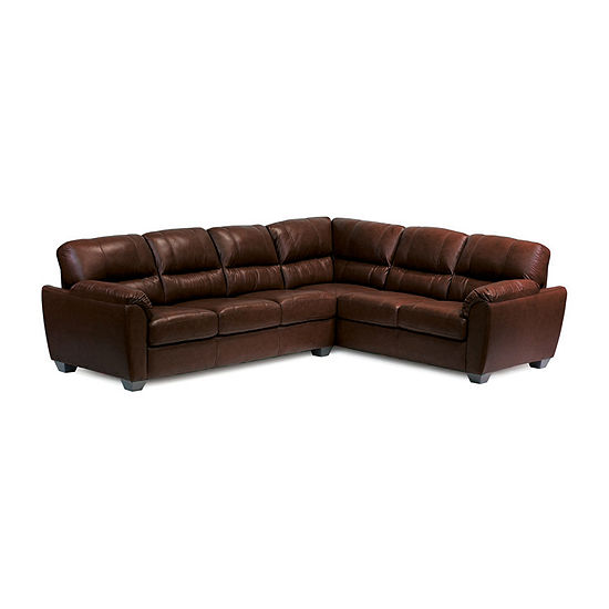 Leather Possibilities Pad Arm 2-Pc  Left Arm Sofa Sectional