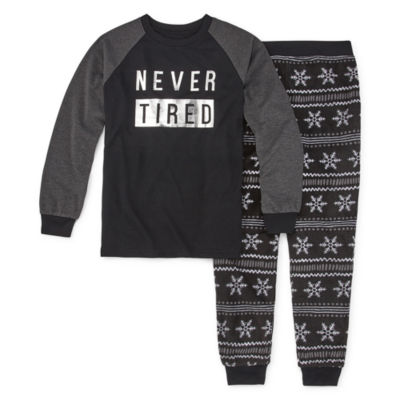 Holiday #Famjams Black Fairisle Foil Family Unisex 2-pc. Pant Pajama Set Big Kid