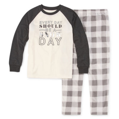 Holiday #Famjams Grey And Black Buffalo Family Unisex 2-pc. Pant Pajama Set Preschool / Big Kid