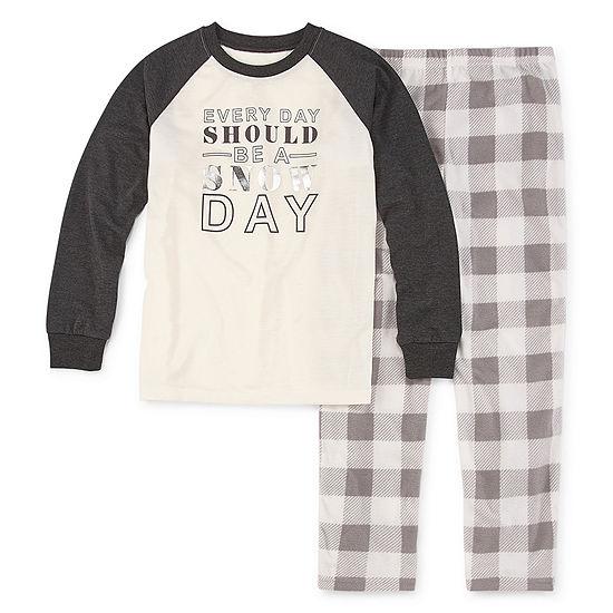 Holiday #Famjams Grey And Black Buffalo Family Unisex 2-pc. Pant Pajama Set Preschool / Big Kid