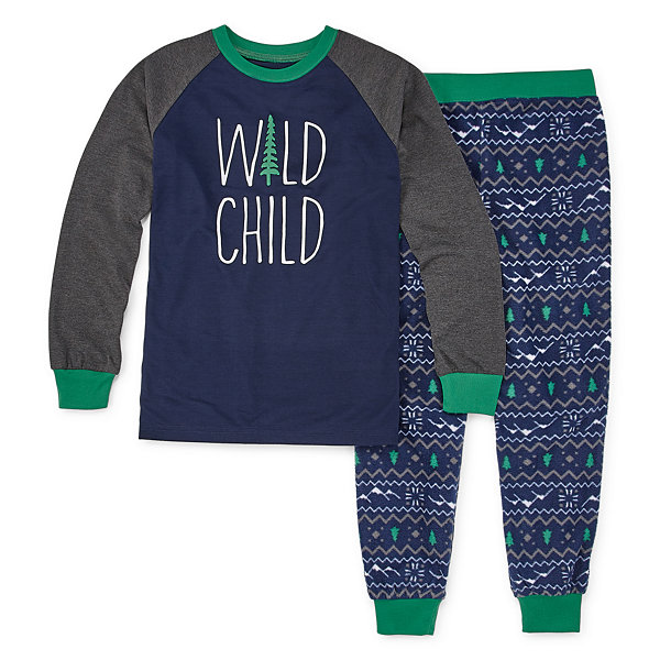 Holiday #FAMJAMS Green and Navy Explore Family 2 Piece Pajama Set -Boy's