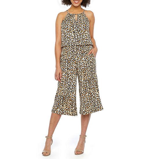 London Style Sleeveless Cheetah Print Jumpsuit