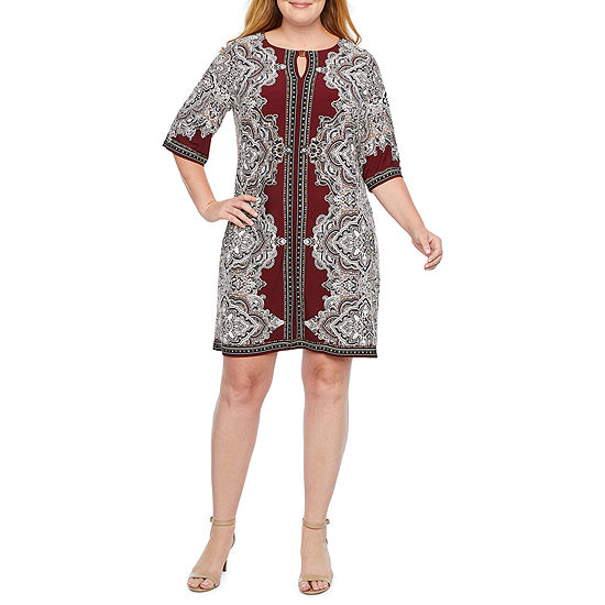 Studio 1 3/4 Sleeve Shift Dress-Plus