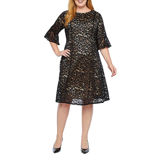 Perceptions 3/4 Bell Sleeve Floral Lace Fit & Flare Dress-Plus