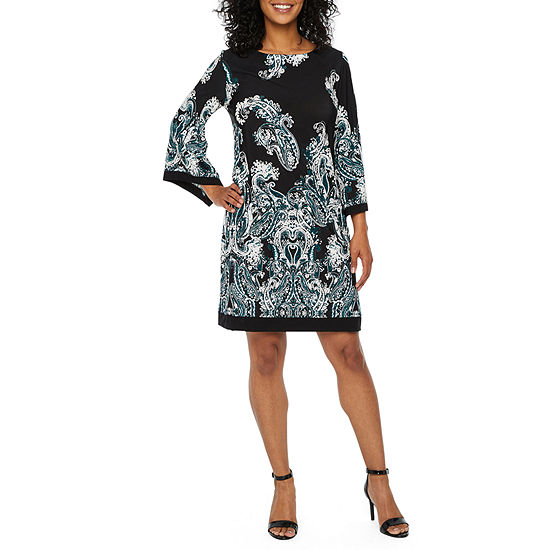 Studio 1 3 4 Sleeve Paisley Shift Dress Petite