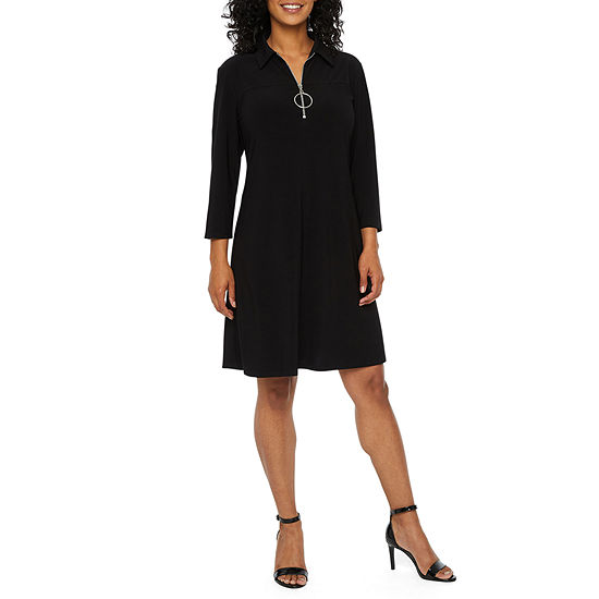 MSK-Petite 3/4 Sleeve Midi Shift Dress