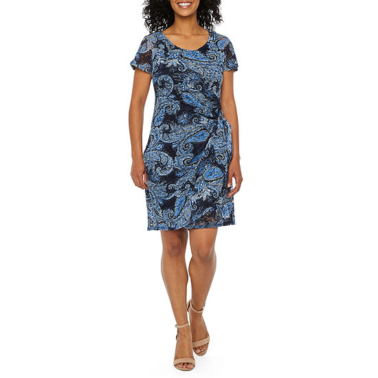 Robbie Bee Short Sleeve Leaf Lace Sheath Dress-Petite