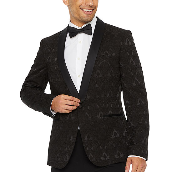 JF J.Ferrar Evening Edition Jacquard Mens Super Slim Fit Sport Coat