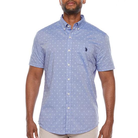 U.S. Polo Assn. Mens Short Sleeve Dots Button-Down Shirt