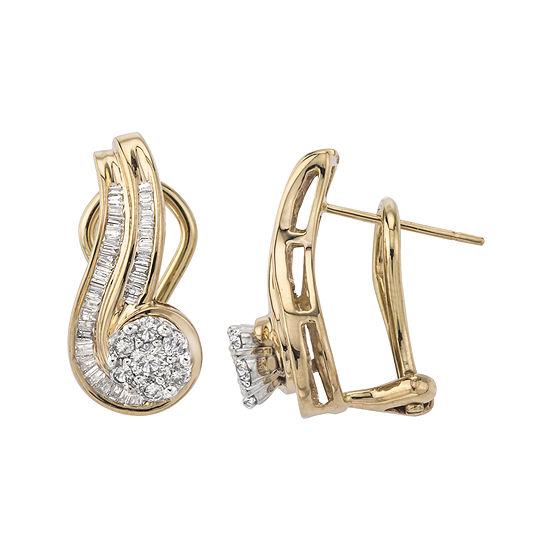 3/4 CT. T.W. Genuine Diamond 10K Gold Swirl Earrings