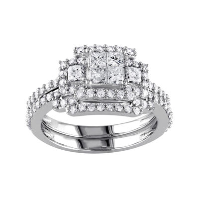 1 1/5 CT. T.W. Diamond 14K White Gold Bridal Ring Set
