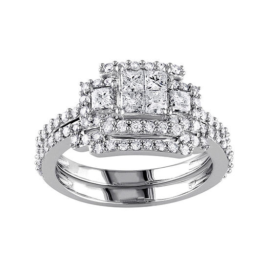 1 1 5 Ct Tw Diamond 14k White Gold Bridal Ring Set