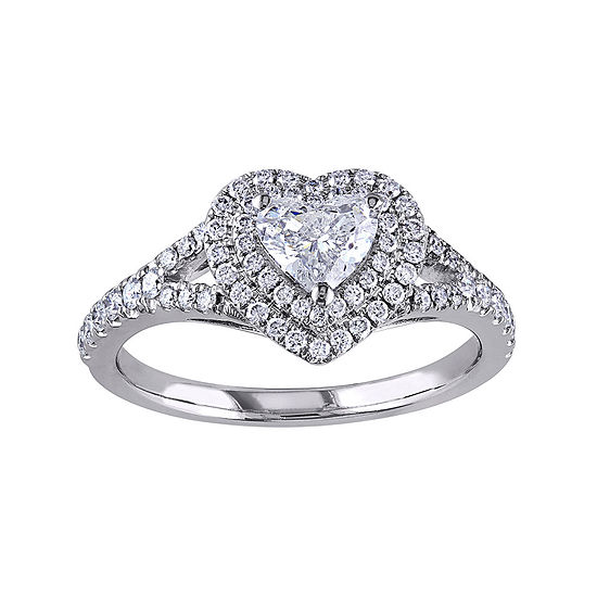 1 CT. T.W. Diamond 14K White Gold Heart Ring