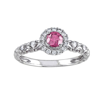 1/2 CT. T.W. White and Color-Enhanced Pink Diamond Ring