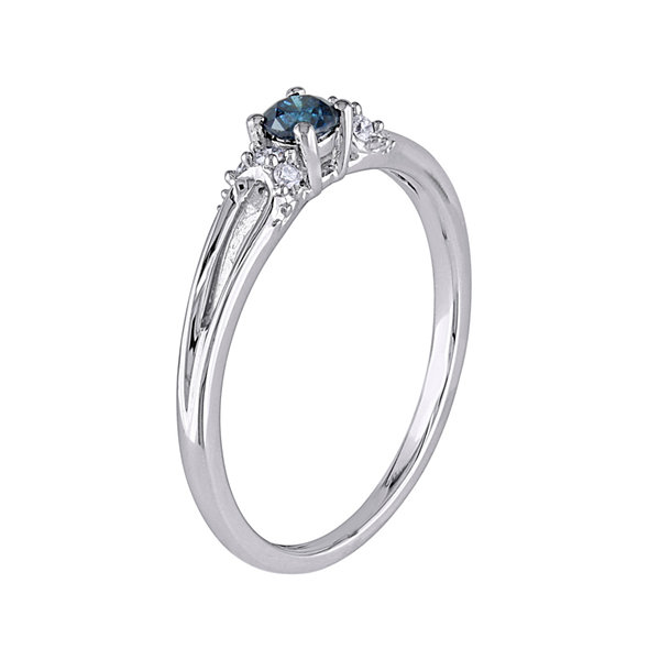 1/5 CT. T.W. White and Color-Enhanced Blue Diamond Ring