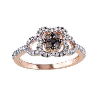 1/2 CT. T.W. White and Champagne Diamond Rose Gold Ring