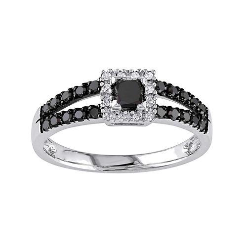 Midnight Black Diamond 1/2 CT. T.W. Color-Enhanced Black Diamond 10K White Gold Ring